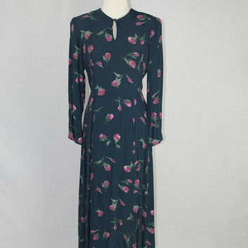 Vintage 90s Pink Roses Day Dress 30s / 40s style Dark Blue