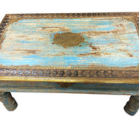 India Furniture Coffee Table Blue Patina Floral Design Corner Tables