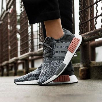 Best Online Sale Adidas NMD R1 Grey / Grey / Raw Pink BY9647  Boost Sport Running Shoes Classic Casual Shoes Sneakers