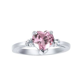 Cubic Zirconia Pink Heart Ring Sterling Silver (Color Options, Size 3-15)