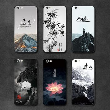 Natural Scenery Case For Iphone 7 8 7plus 8plus Mountains Bamboo Eagle Flower Color Painting Frosted Back Cover Phone Cases
