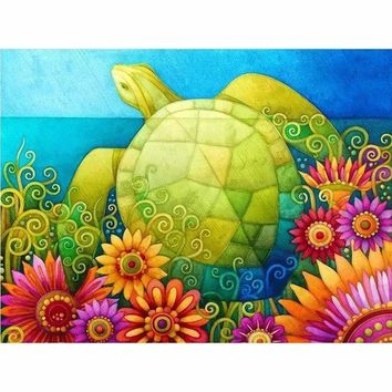 5D Diamond Painting  Abstract Flowers and Sea Turtle Kit