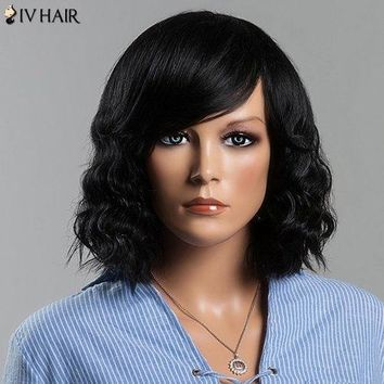 Charming Women's Medium Wavy Side Bang Siv Human Hair Wig - Jet Black