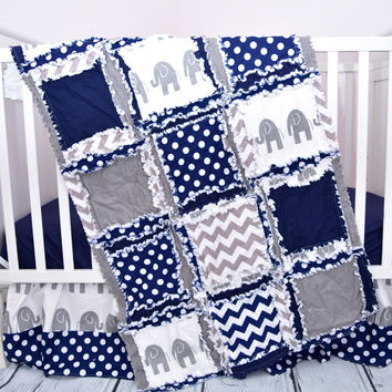 Navy Blue Elephant Baby Quilt - Jungle Crib Quilt, Toddler Quilt, & Mini Crib Quilt Available