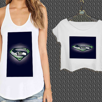 Seattle Seahawks Superman For Woman Tank Top , Man Tank Top / Crop Shirt, Sexy Shirt,Cropped Shirt,Crop Tshirt Women,Crop Shirt Women S, M, L, XL, 2XL **