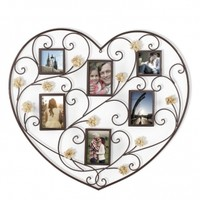 adecotrading.com: Adeco 6-opening Iron Heart-Shape Photo Picture Frame