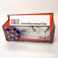 Unusual Orange Vined Business Card Holder with Glass Cabochon and Glue Cip Textured Glass