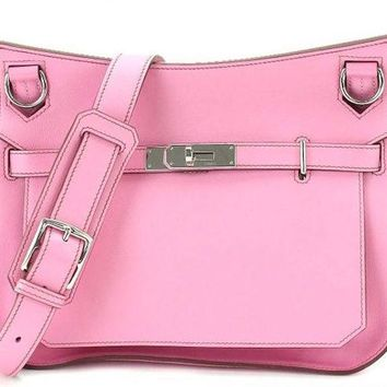 Hermes Jypsiere 28 Shoulder Bag Purse Swift Pink Women Luxury O mark Auth Rare