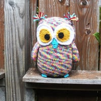 Large Plush Crochet Owl Stuffie in pastel rainbow multicolor, ready to ship.