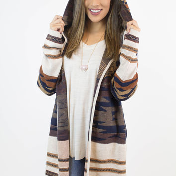 Brown + Navy Knit Tribal Sweater