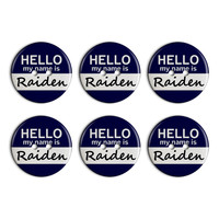 Raiden Hello My Name Is Plastic Resin Button Set of 6