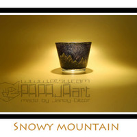 Snowy Mountain - Original Hand Painted Candle Holder, Tea light holder, Art Decoration