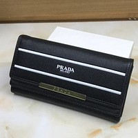 Prada Trending Women Print Leather Buckle Wallet Purse Black I