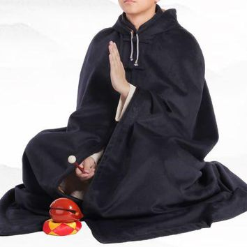 6color unisex winter warm wool lay meditation cloak nun suits Buddhist monks shaolin kung fu martial arts cape coat red/gray