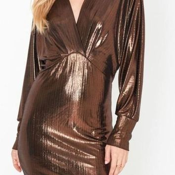 MAYA METALLIC COCKTAIL MINI DRESS