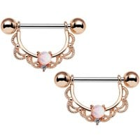 "5/8"" White Synthetic Opal Rose Gold Plated Scalloped Nipple Ring Set"
