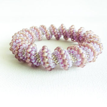 Wedding beaded bangle. Bridal honeysuckle Cellini spiral bracelet, Rustic wedding, Light purple, pearly, silver, romantic, tbteam