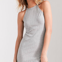 Glamorous High-Neck Ribbed Bodycon Dress | Urban Outfitters