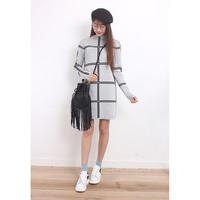 High Neck Window Pane Plaid Mini Knit Dress