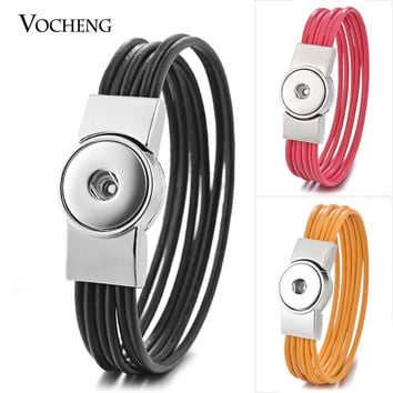 10PCS/Lot Vocheng Ginger Snap Charms Leather Bracelet Multi Coffee Black Magnet Clasp Bangle for 18mm Button Jewelry NN-588*10