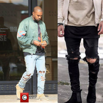 Kanye West Skinny Ripped Jeans For Men Male Black Motorcycle Camouflage Jeans Denim Pants Fashion Brand Swag Hole Biker Jeans
