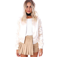 GJ124 Women Luxe Slik Satin Bomber Jacket Classic Outwear Autumn Winter Fall Spring Coats Outwear New