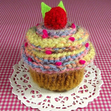 KNITTING PATTERN Cupcake Cherry Candy Ornament Toy Amigurumi Food Pincushion Pattern Instant Download PDF