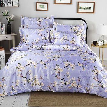 New Arrival Perple Flowers Duvet Cover Set Satin Silk Reactive Printing Bedding Set Smooth Soft For Summer Beddings And Bed Set