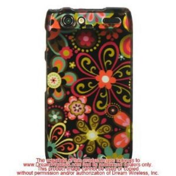 Motorola Droid Razr Xt912 Crystal Case Black Multi Flower