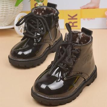 Spring Autumn Kids Shoes Martin Boots Children Yeezy Shoes Patent Leather Boots Equest