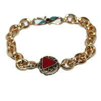 Turquoise Coral Gold plated Gold Chain Bracelet