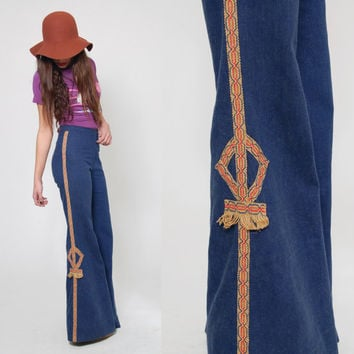 Vintage 70s BELLBOTTOM Jeans HIGH WAISTED Jeans Hippie Jeans Ethnic Trim Festival Flare Denim Jeans