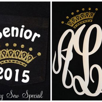 Senior QUEEN 2015 LONG Sleeve Monogram Tee Shirt with GOLD Crown