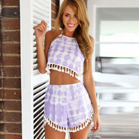 Dye Print Halter Cropped Top and Shorts Set with Pom Embelishment
