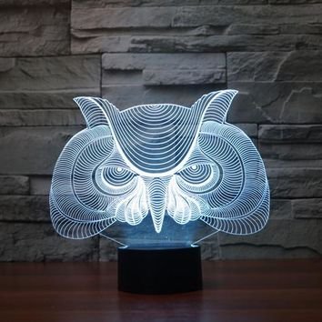 Wise Owl Head 3D LED Night Light Lamp