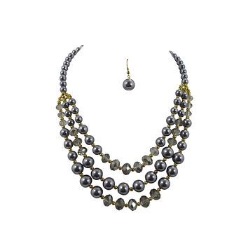 Muti Strand Gray faux Pearl and Crystal beads Necklace and Earrings set