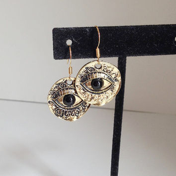 Evil Eye Earrings, Gold Colored, Lucky Charm, Talisman Jewelry, Fortune Teller Style, Nazar Protection Amulet, Round Disc