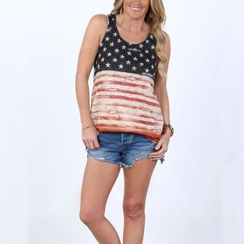 Women Tank American Flag Striped America Star Printed Tops O-Neck Sleeveless Cropped Top Summer 2017 Girls Soft Casual Loose