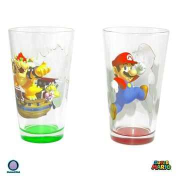 2-Pack 16oz Nintendo OFFICIAL Super Mario Bros.Red Mario and Green Bowser Pint Glass