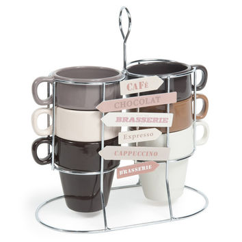 Set 6 tazze marroni e beige in maiolica + supporto AMERICANO | Maisons du Monde