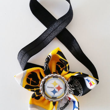 Pittsburgh Steelers Headband, Toddler and Newborn Football Headband, Steelers Hair Accessory, Steelers Baby, Steelers Hairbow