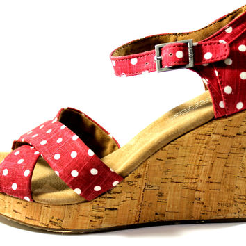 Toms Women's Strappy Wedge Red Polka Dot Sandals Shoes
