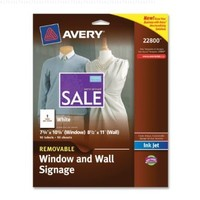 Avery Removable Window and Wall Signage, InkJet, 8.5 x 11-Inches, White, Pack of 10 (22800)