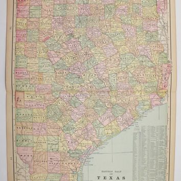 Vintage Map Texas 1900 Antique TX Map, East Texas, Oklahoma, Indian Territory Map, Arkansas Texas Wedding Gift for Couple, Texas Ranch Decor