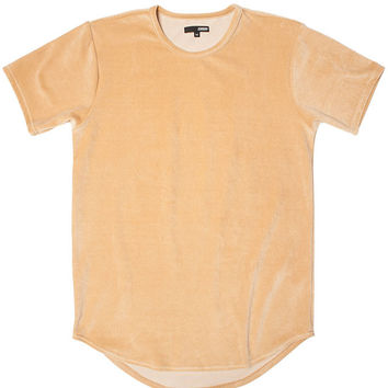 Sand Velour Curved Hem Tall Tee