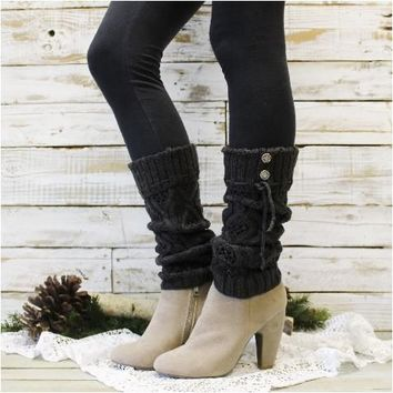 WONDERLAND cuff leg warmers - charcoal grey