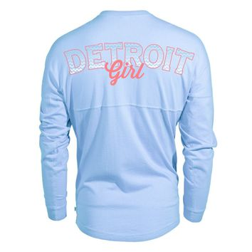 Venley Official Vintage Detrioit Michigan Women's Long Sleeve Spirit Wear Jersey T-Shirt.