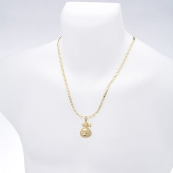 "Jewelry Kay style Men's Money Bag CZ Iced Gold Plated Pendant 20"" / 24"" Chain Necklace BCH 13130 G"