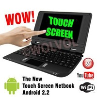 "WolVol Touch Screen Black MINI LAPTOP NETBOOK 7"" Computer Android 2.2 WiFi 3 USB Ports TONS Apps and Games 4gb HD 256mb RAM (INCLUDES: Velvet Pouch Case, Charger, Mini Optical Mouse, Touch-Pen) 