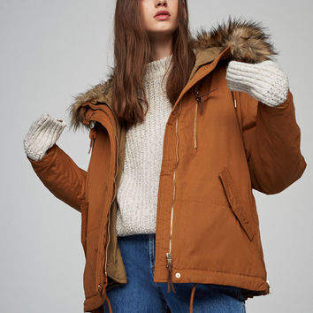 Parka with detachable lining and faux fur hood - Best sellers ❤ - Clothing - Woman - PULL&BEAR United Kingdom
